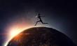 Leinwanddruck Bild - Sportswoman run race. Mixed media