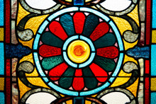 Closeup Of Very Old, Colorful Stained Glass.