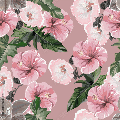 Tropical flower and leaves with hibiscus seamless pattern-vector