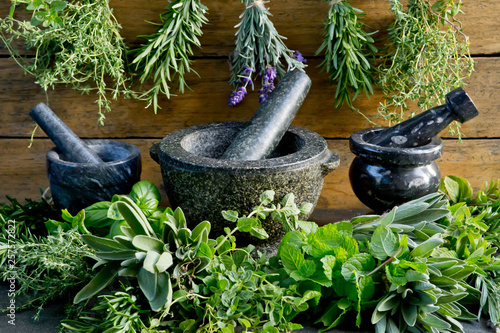 Fotografie, Obraz  Fresh herbs with mortar and pestle against rustic wooden background