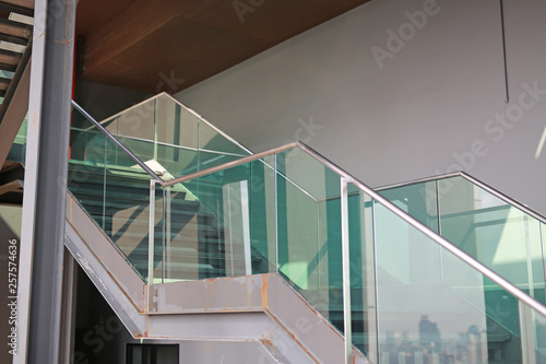 Staircase and handrail to the upper floor. Wallpaper Mural