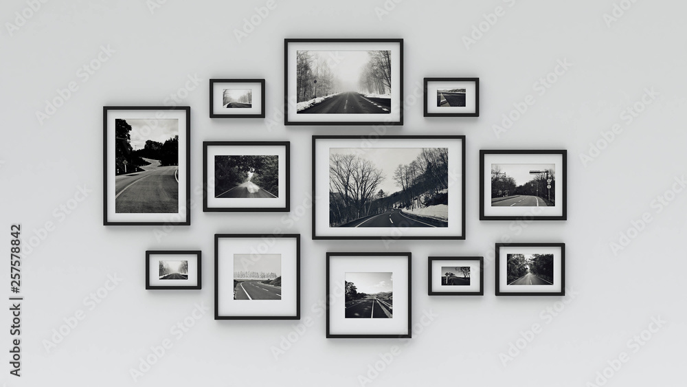 Fototapety, obrazy: picture in photo frame on wall.Concept country road (3d rendering)