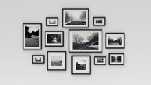 Picture In Photo Frame On Wall.Concept Country Road (3d Rendering)
