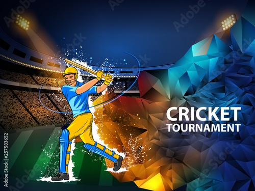 Fotografía  easy to edit vector illustration of player batsman in Cricket Championship Tourn