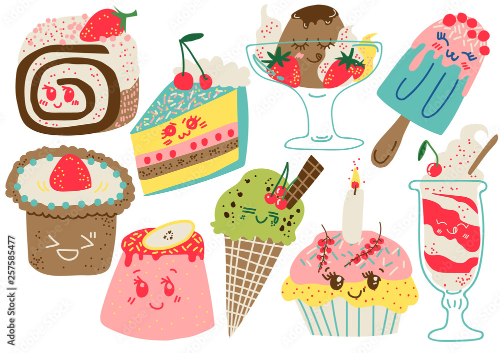 Fototapety, obrazy: Delicious Desserts Set, Confectionery and Sweets, Cake, Popsicle, Cupcake Vector Illustration