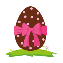 Happy Easter Egg Painted With Bow Ribbon
