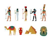 Ancient Egypt Cultural Symbols Set, Gods And Goddess Vector Illustration