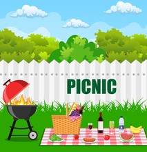 Barbecue Grill And Picnic Bask...