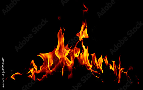 Papiers peints Feu, Flamme Flame of fire on a black background