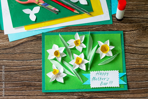 Mother S Day Card With Daffodils Handmade Project Of Children S
