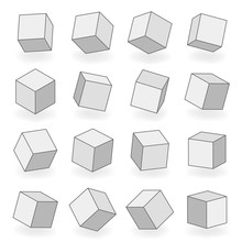 Polygon Mesh 3d Modeling Square Blocks Volume Angle Turn Isometric Isolated Icons Design Vector Illustration