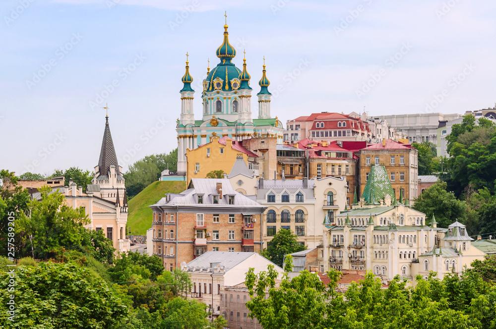 Fototapety, obrazy: Top view of Saint Andrew's church and Andriivska street from above, Kiev (Kyiv), Ukraine.