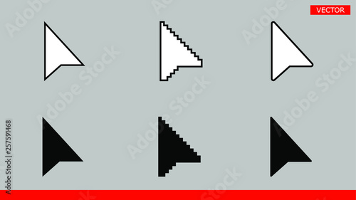 6 black and white arrow pixel and no pixel mouse cursors