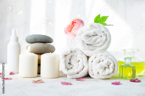 Poster Spa Spa, beauty treatment and wellness background Towel Cosmetic Massage oil, flowers and candel