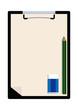 クリップボードと筆記用具のイラスト。文房具のクリップアート。