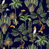 Seamless pattern with exotic trees and animals. Interior vintage wallpaper. - 257598414