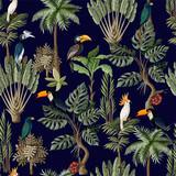 Wzór z egzotycznych drzew i zwierząt. Tapeta vintage wnętrza. - 257598414