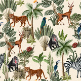 Seamless pattern with exotic trees and animals. Interior vintage wallpaper. - 257598425