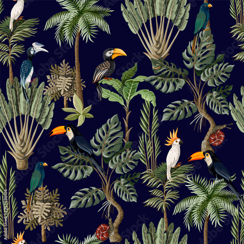 Tuinposter Vlinders Seamless pattern with exotic trees and animals. Interior vintage wallpaper.