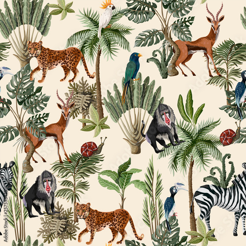 plakat Seamless pattern with exotic trees and animals. Interior vintage wallpaper.