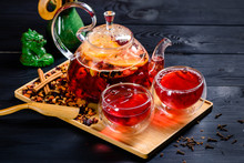 Red Tea In A Glass Teapot, Tea...