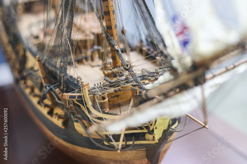Foto op Plexiglas Schip Galleon model detail made of wood. Useful as hobby example. HMS Leopard 1790 was a 50-gun Portland-class fourth rate of the Royal Navy.
