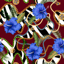 Seamless Summer Pattern With Belts, Chains And Tropical Leaves And Flowers. Trendy Fashion Print.
