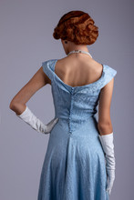 Glamorous 1930s Woman In Blue Dress