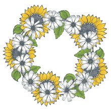 Summer Round Frame With White Chamomile Flowers And Yellow Sunflowers. Bright Hand Drawn Illustration Of Beautiful Camomiles Or Gerbera Wreath For Greeting Card Decoration, Wedding Invitations