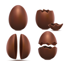 Realistic 3d Detailed Chocolate Eggs Set. Vector