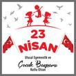 23 April Children's Day vector (Turkish Speak: 23 Nisan Cocuk Bayrami)