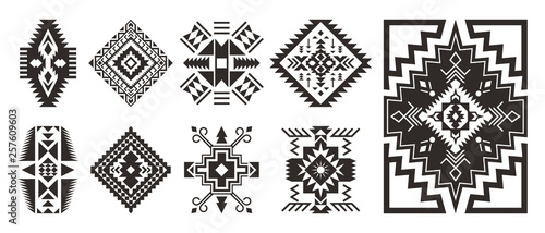 Poster Boho Stijl Set of decorative Ethnic elements isolated on white background.