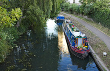 Colourful Long Boat With Pots ...