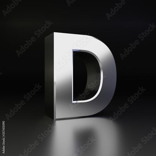 Fototapeta  Chrome letter D uppercase