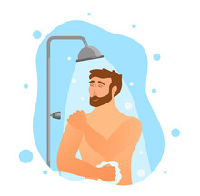 Young Man Taking Shower Cartoon Vector Illustration.