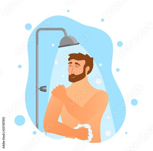 Young man taking shower cartoon vector illustration.