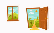 Open Door And Window Cartoon Colorful Vector Illustration With Valley Summer Sun Landscape