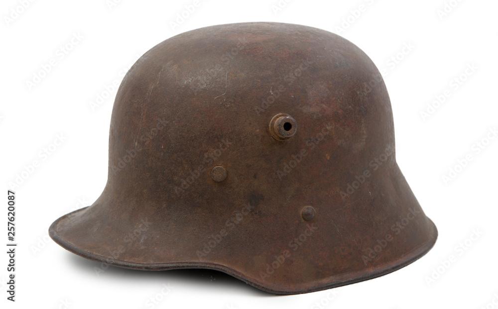 Fototapeta German World War One (Stahlhelm) military helmet on white background
