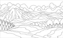 Summer Mountain Landscape Coloring Book. Valley Vector Illustration.
