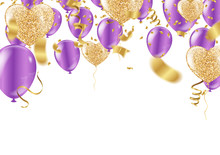Balloon Confetti Purple Colorful Carnival Or Party Frame Of Balloons, Streamers
