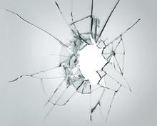 Broken Window Glass Crack Splitter On White Gray Background