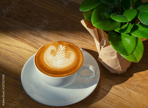 Foto latte or Cappuccino art coffee cup top view on wood table with sunlight in cafe