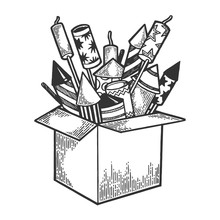 Box With Fireworks Rockets Sketch Engraving Vector Illustration. Scratch Board Style Imitation. Hand Drawn Image.