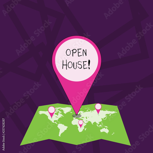 Text sign showing Open House  Business photo showcasing