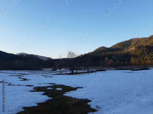 Printed kitchen splashbacks Lake Tiglieto, Italy - 03/22/2019: Beautiful blue background of the last snow in the village in winter with some beautiful flowers and trees without leaves and small view to the mountains and the moon.