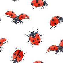 Watercolor Ladybug Seamless Pattern