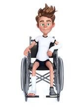 3D Rendering Of A Cartoon Boy Sitting In A Wheelchair.
