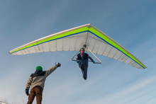 Smiling Hang Glider Pilot Fly ...