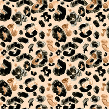 Trendy Animal Leopard Or Cheetah Skin Seamless Pattern On Beige Background.Watercolor Hand Painted Leopard Endless Print With Brown, Orange And Black Spots For Textile, Clothes, Fabric