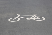 A Bicycle Logo On The Floor Of...
